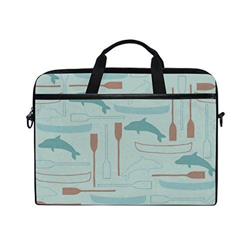 Dolphin Briefcase - 15-Inch Laptop Bag Dolphin Pattern Canvas Shoulder Messenger Sleeve Case Tablet Briefcase