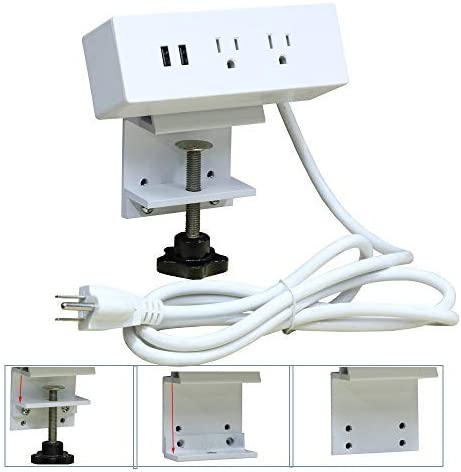 Desk Clamp Power Strip Mount on Desktop Edge, UL Approval Aluminium Alloy Removable Table Power Outlet with USB and 6ft Extension Cord for Home Office Hotel Use