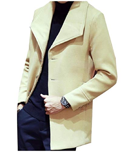 Slim Casual Down Mens Collar Coat Trench Fit Camel Blended Wool XINHEO Turn n4fIqxwfW