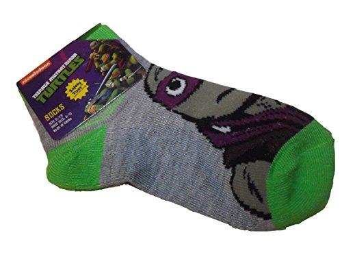 Teenage Mutant Ninja Turtles TMNT Grey Green Donatello Donnie 5-8 Boy Toddler Sock