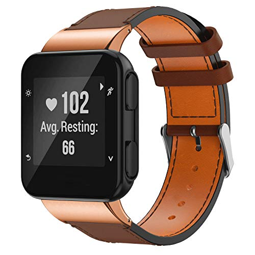 GELISHI Compatible Bands for Garmin Forerunner 35 Watch Genuine Leather Replacement Wristbands with Stainless Metal Clasp for Garmin Forerunner 35 Watch - Dark Brown (No Tracker)