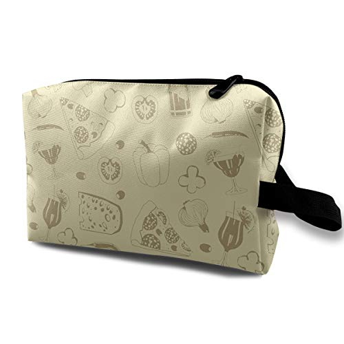 (With Wristlet Cosmetic Bags Pizza And Vegetables Travel Portable Makeup Bag Zipper Wallet)