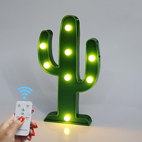 Battery Operated Night Light LED Marquee Sign with Wireless Remote Control for Kids Room, Bedroom, Gift, Party, Home Decorations(Cactus)