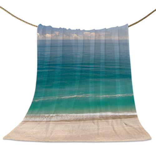Flannel Fleece Throw Blankets, Beach Scenes Clear Ocean Sea Blue Sky Decorative Blankets, Lightweight Super Soft Luxury Cozy Blanket for Stadium Couch Bed Sofa - Fleece Scene Blanket