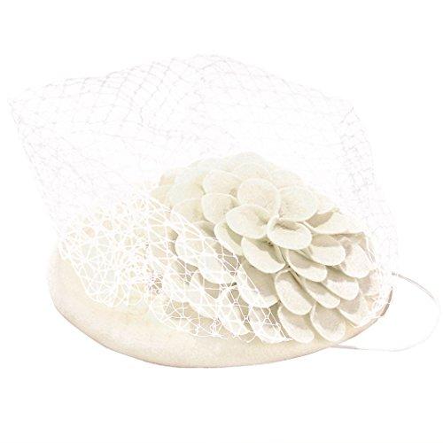 [Retro Fascinator Women Pillbox Hat British Style Party Wedding Bowler Hat] (White Top Hat Fascinator)