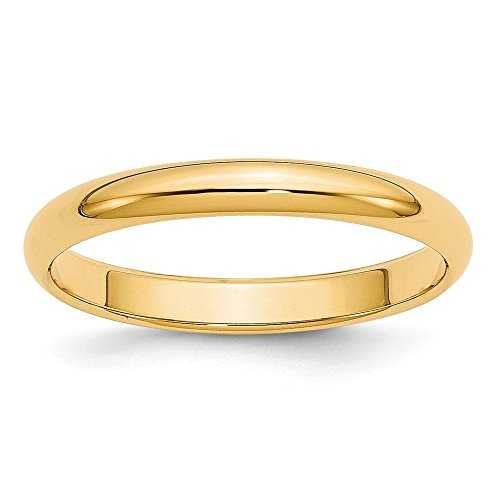 - 14k Yellow Gold 3mm Half Round Wedding Ring Band Size 6.50 Classic Domed Fine Jewelry Gifts For Women For Her