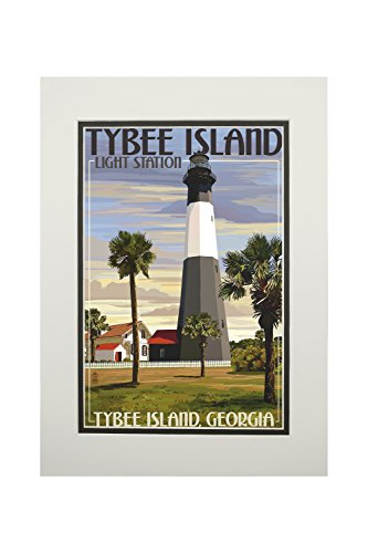 - Tybee Island Light Station, Georgia (11x14 Double-Matted Art Print, Wall Decor Ready to Frame)