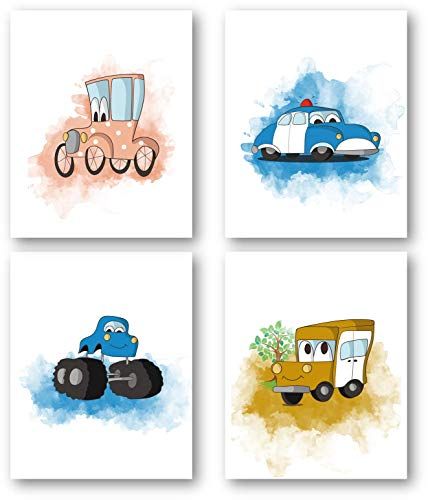 Ramini Brands Hot Rod, Police Cruiser and Classic Car Baby Nursery Wall Art Decor - Set of 4 8 x 10 Unframed Prints - Great Gift for Infant, Toddlers, Baby Showers