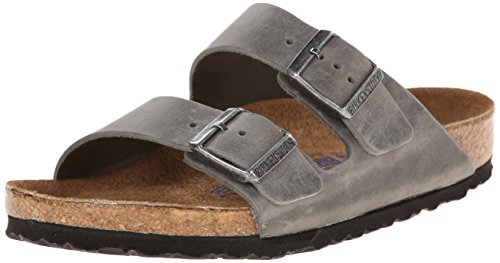 Extra Wide Leather Sandals - Birkenstock Unisex Arizona Iron Oiled Leather Sandals - 40 M EU/9-9.5 B(M) US Women/7-7.5 B(M) US Men