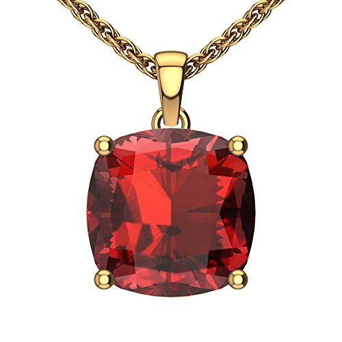 Belinda Jewelz Womens 14k Yellow Gold Cushion Shape Cut Gemstone Rhodium Plated Sparkling Prong Real Sterling Silver Fine Jewelry Classic Chain Hanging Pendant Necklace, 4.7 Ct Garnet Red, 18 inch