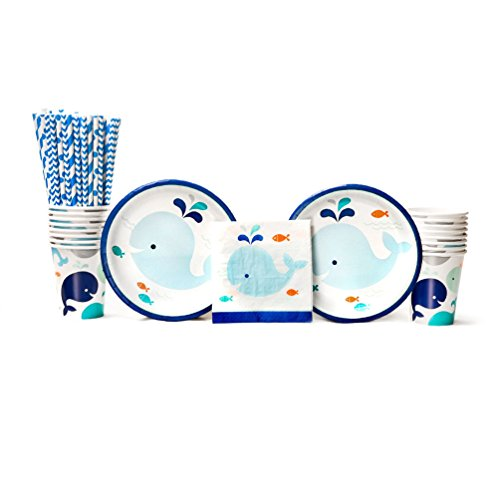Lil' Spout Blue Baby Shower Party Supplies Pack for 16 Guests: Straws, Dessert Plates, Beverage Napkins, and Cups ()