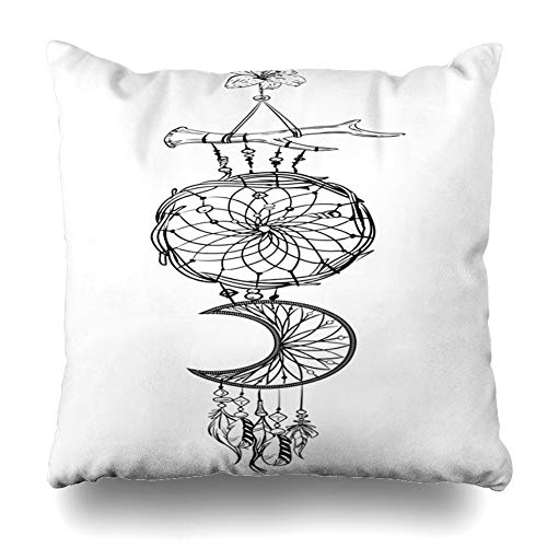 (Ahawoso Throw Pillow Cover Pillowcase Catcher Amulet Monochrome Dream Ornate Ethnic Feathers Dreamcatcher Beads Flower American Vintage Zippered Square Size 20 x 20 Inches Home Decor Cushion Case)