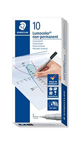 Staedtler Lumograph Non-Permanent Wet Erase Marker Pen, Super Fine Tip, Low Odor Colored Markers, Black, 311-9