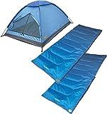 Cheap High Peak USA Alpinizmo 2 Ceduna 20 Sleeping Bags & 1 Monodome 3 Tent Combo Set, Blue, Regular