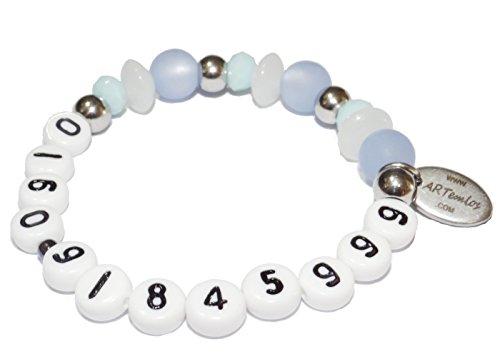 ARTemlos® Handgefertigtes Kinder-Armband mit Telefon- oder Handynummer, aus Edelstahl und Perlen