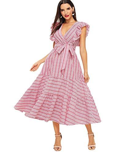 Milumia Women Striped Wrap Fit and Flare Ruffle Sleeveless Sundress V Neck Sleeveless Dress Pink M