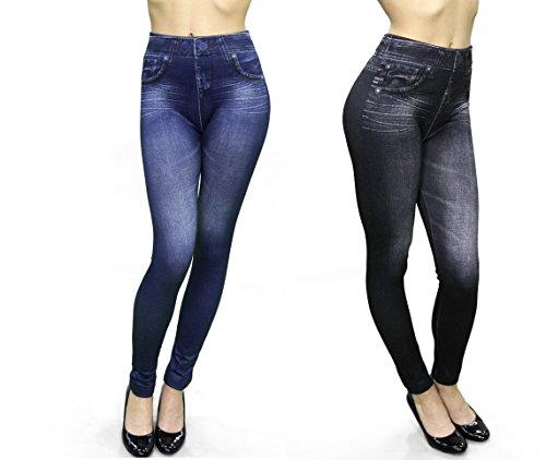 BestofTv azul Azul de negro Slimming 2 y Jeans y Color nbsp;Juego nbsp;– nbsp;Leggins M6 para Mujer Negro 6Brw4qxP6