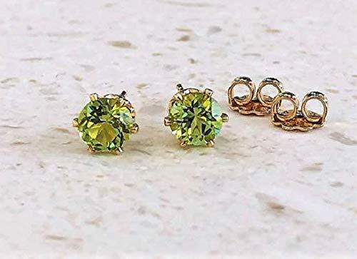 (Natural Green Peridot 5mm Gemstone Stud Earrings - 14K GF - Jewelry Gift For Women)