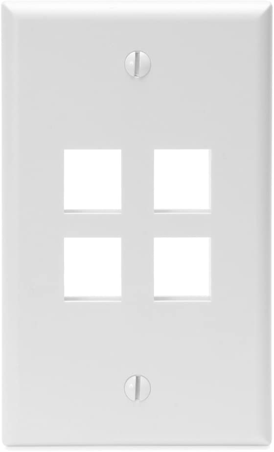 Leviton 41080-4WP QuickPort Wallplate, Single Gang, 4-Port, White