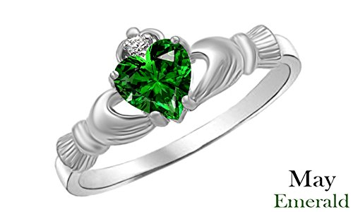Heart Shaped Simulated Green Emerald & Cubic Zirconia Claddagh Ring in 14k White Gold Over Sterling Silver