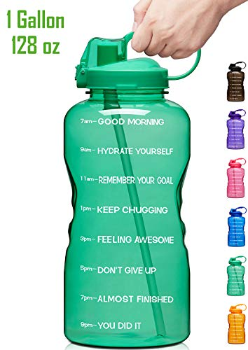 Giotto Large Gallon Motivational Water Bottle with Time Marker & Straw, Leakproof Tritan BPA Free, Ensure You Drink Enough Water Daily for Fitness, Gym and Outdoor Sports-Green (Water Cups With Measurements)
