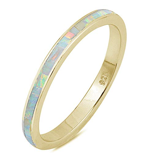 Oxford Diamond Co Lab Created White Opal Band .925 Sterling Silver Ring Sizes 7
