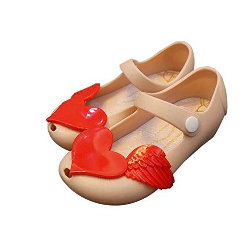 Hzjundasi Verano Niña Bebés Linda Antideslizante Suave Jalea Boca de pescado Casuales Zapatos Niñito Niños Playa Sandalias Lluvia Botas Beige