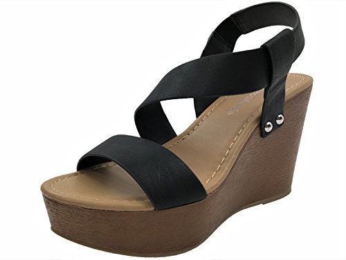 City Classified Open Toe Wedge Ankle Cross Over Strap Bootie Sandal Black