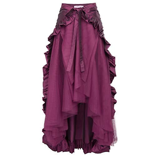 Pirate Skirt for Women Steampunk Skirt Lace Up Retro Vintage Long Ruffle Skirt Rose ()