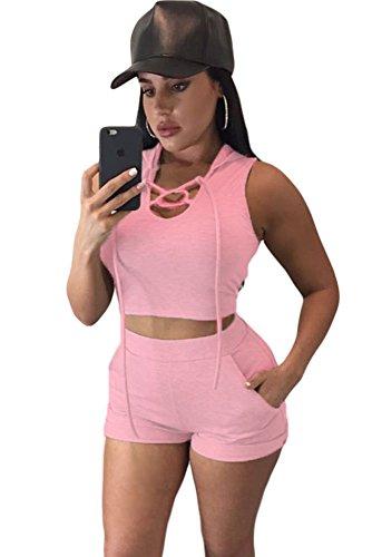Rosa bauchfreies Kapuzen-Top und kurze Hose, Disco-Outfit, Sommerkleidung, legeres Set, Größe EU 36-38
