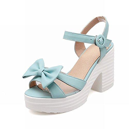 Carolbar Sweet Womens Fashion Cute Bows Buckle Lolita Platform High Chunky Heel Sandals Blue i9GRxGp