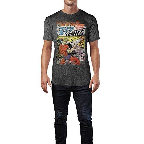 SINUS ART® Zip Comics Herren T-Shirts stilvolles dunkelgraues Cooles Fun Shirt mit tollen Aufdruck