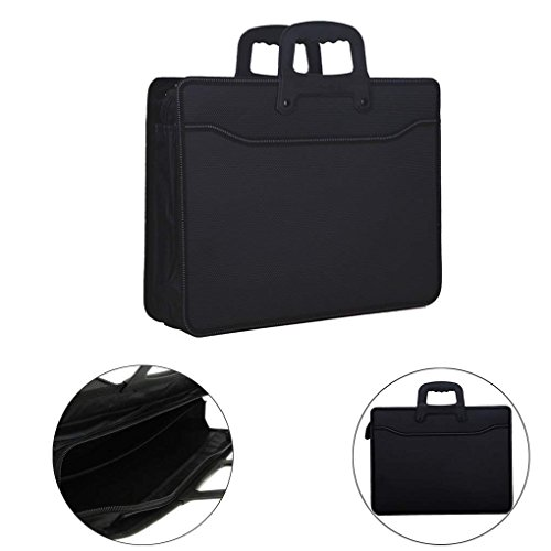 A4 Business Travel Portfolios Bag Briefcase Computer Bag File Document Storage Organizer Zippered Handbag Tote Holder with Top Handle for Tablets Bills Notebook Receipts Office Trip Meeting Men Women