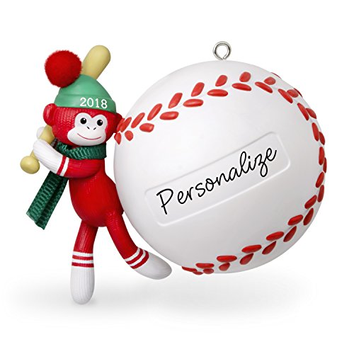 All Star Sports Collectibles - Hallmark Keepsake Personalized Christmas Ornament 2018 Year Dated, Baseball Star Sock Monkey