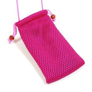 Cosmos Hot Pink Fashionable Grid Breathable case bag pouch/ Neck Strap for Cellphone / Digital Camera /MP3/MP4/ iphone 4 4s 3 3Gs HTC one X LG MOTOROLA + Cosmos cable (Cell Phone Cases Lg Cosmos 3)