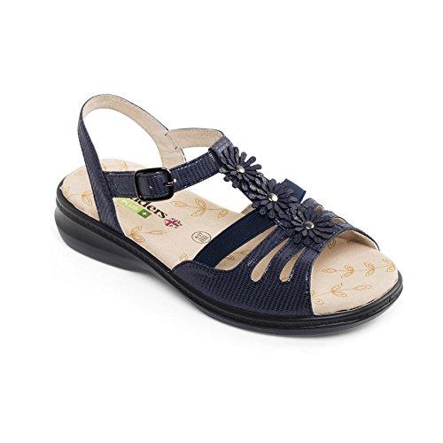 Padders Damen Breite Größe Sandalen Lizzy | Extra Breite Plus EEE Größe | kostenloser Rückversand nach UK | Gratis Footcare UK Schuhanzieher | Marine Reptile