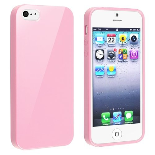 TOOGOO TPU Rubber Skin Case Compatible with Apple iPhone 5, Light Pink ()