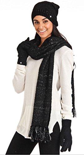 Aegean Apparel Women's Marshmallow Sparkle Winter Hat, Scarf & Gloves Gift Set (One Size, - Aegean Apparel