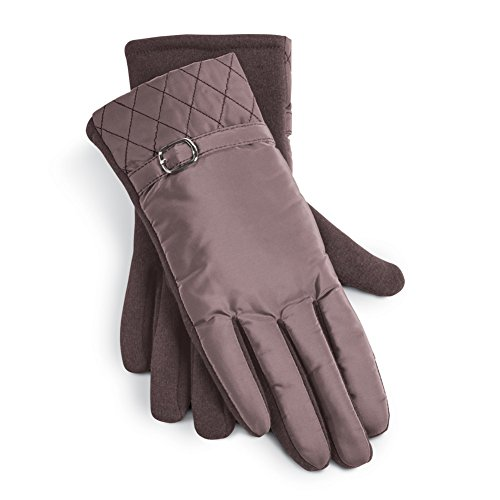 Quilted Gloves Buckle Detail Polyester