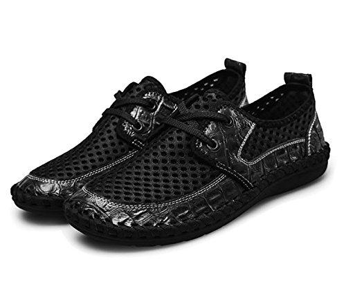 mesh scarpe on estive uomo casual moda scarpe slip in Nero Bebete5858 da scarpe vera pelle traspirante uomo estate morbido Leather marchio confortevole 5Yw7x4F