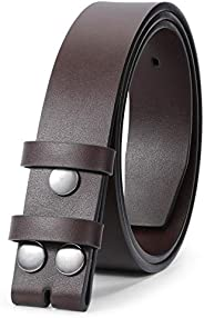 JASGOOD Mens Leather Belt for Buckle,Snap Buckle Replacement Leather Strap