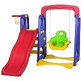 Playground Infantil 3 em 1 com Escorregador, Balanço e Cesta de Basquete