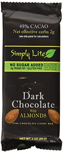 Low Fat Chocolate Candy - Simply Lite Chocolate Candy Bar, Low Garb Gluten Free Dark Chocolate with Almonds, (9 Pack)