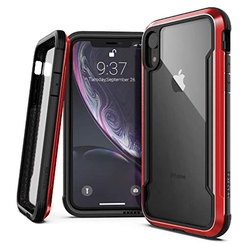 X-Doria Defense Shield Series, iPhone XR Case - Military Grade Drop Tested, Anodized Aluminum, TPU, and Polycarbonate Protective Case for Apple iPhone XR, 6.1 Inch LCD Screen (Red)