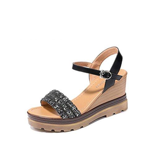 Elegante Sandalias Mujer de Color 2018 Casual Summer Sandalias tamaño Slope de de Mujer Senderismo Zapatos Zapatos tacón Alto de Travel Office Black con 36 Mujer 4AUwn6