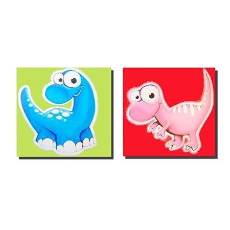 Wall Art - Canvas Wall Art - 2 Kids Dinosaur Canvas Panels: Amazon ...