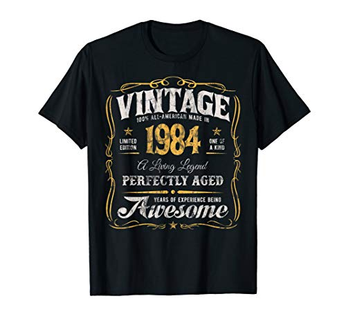 35th Birthday T-Shirt Made In 1984 Vintage 35 Years Old Gift (Best Birthday Gifts For 35 Year Old Man)