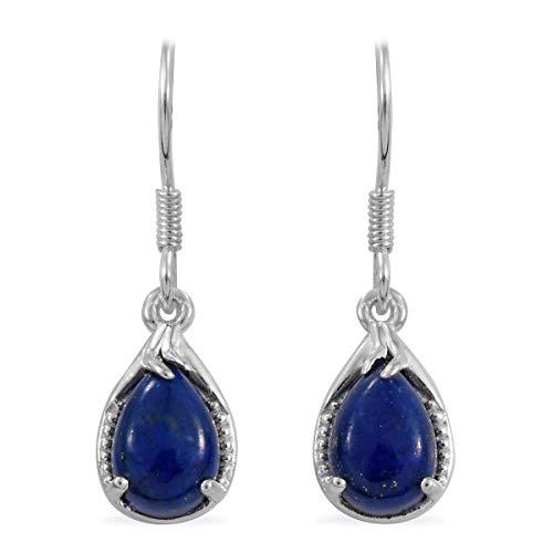 925 Sterling Silver Pear Lapis Lazuli Dangle Drop Hook Earrings for Women Jewelry Gift (Simon Clock Crystal)