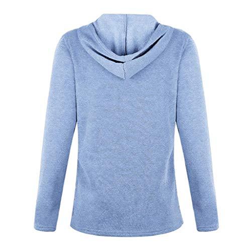 Sólido Soporte Completa Outwears Manga Mujeres Botón Sudadera De Blusa Cálido Azul Luckycat Collar 54ygpWqqa