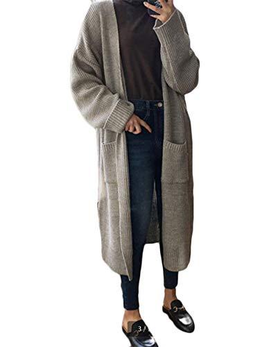 [ユリカー] ニット カーディガン レディース セーター 秋 コート ロング丈 ポケット付き カジュアル シンプル 着痩せ コーディネート